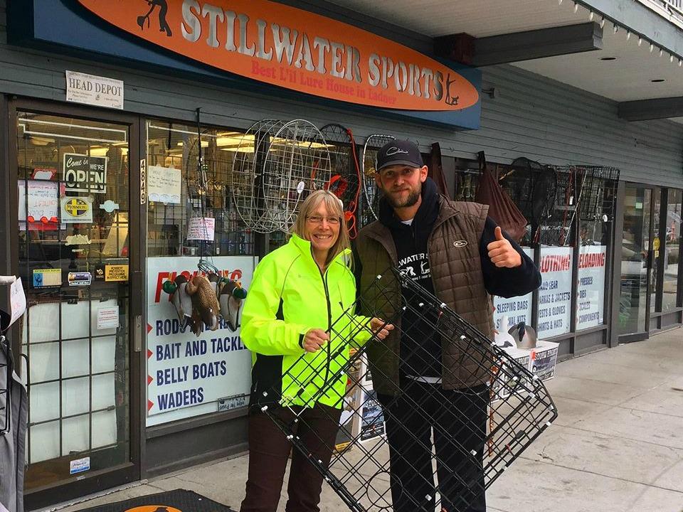Diane receiving her Free crab trap thanks to Stillwater